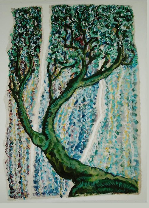 Tree Greeting Card featuring the painting The Tree Energy by Helene Champaloux-Saraswati