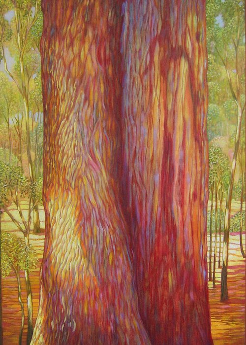 Landscape Greeting Card featuring the painting The Tree by Hiske Tas Bain