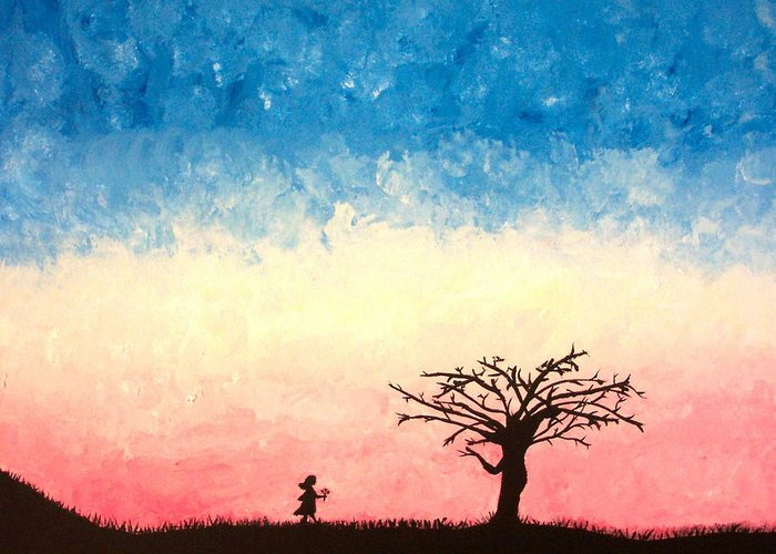 Child Greeting Card featuring the painting The Tree by Jennifer Hernandez