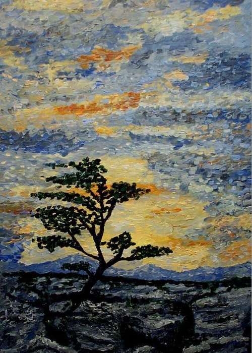 Nature Greeting Card featuring the painting The Tree by Mats Eriksson