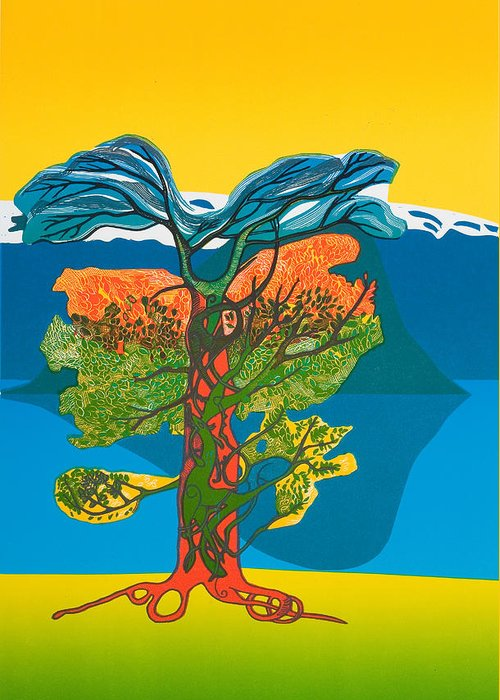 Landscape Greeting Card featuring the mixed media The Tree Of Life. From The Viking Saga. by Jarle Rosseland