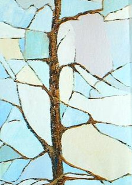Tall Tree With Limbs Only Greeting Card featuring the painting The Tree Sky Song by Judith Espinoza