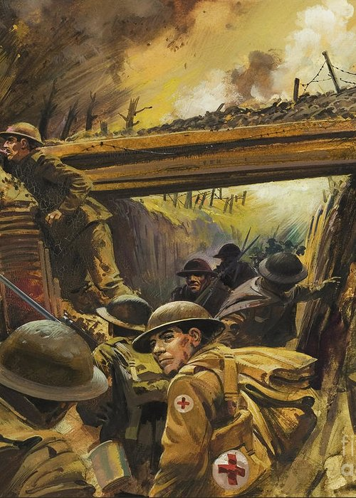 Soldier Greeting Card featuring the painting The Trenches by Andrew Howat