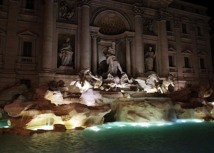 Trevi Greeting Card featuring the photograph The Trevi Fountain In Rome by Aleksandr Syniushko