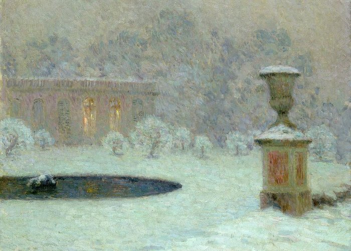The Greeting Card featuring the painting The Trianon Under Snow by Henri Eugene Augustin Le Sidaner