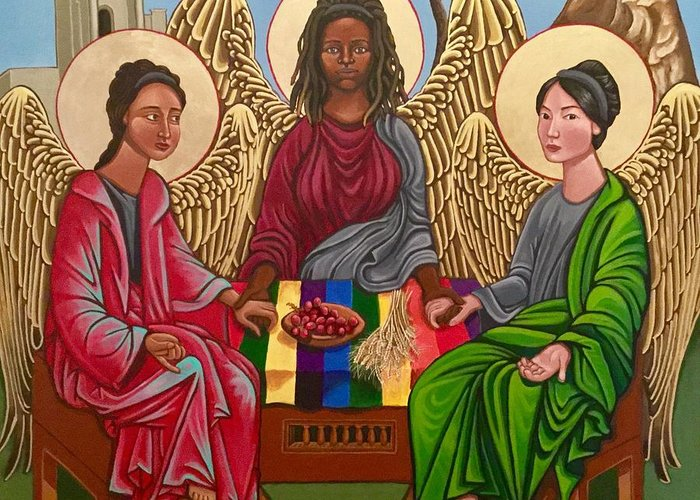 Trinity Greeting Card featuring the painting The Trinity by Kelly Latimore