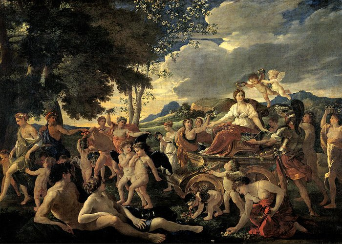 The Greeting Card featuring the painting The Triumph Of Flora by Nicolas Poussin