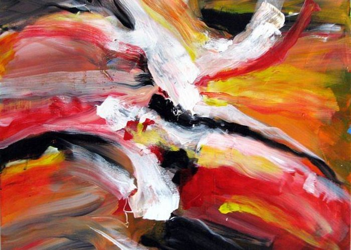 Abstract Painting Full Of Live Vibrant Colors Named: The Triumph Of Light Greeting Card featuring the painting The Triumph Of Light by Dan Bunea