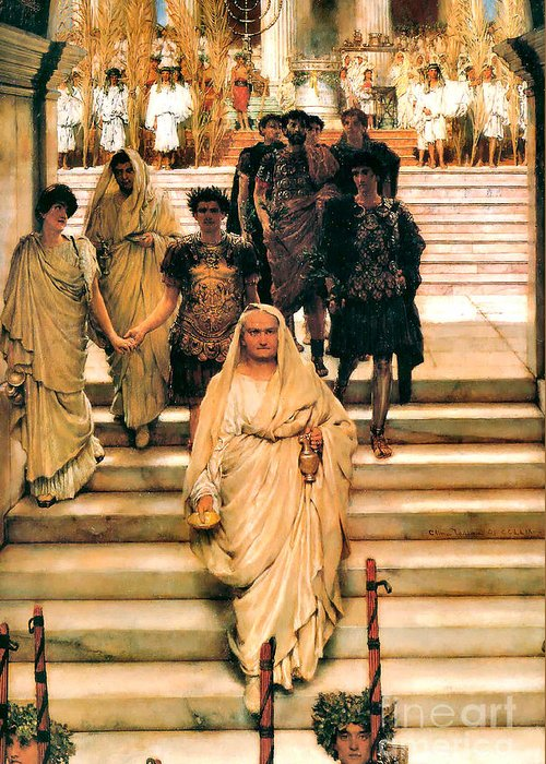 The Triumph Of Titus Greeting Card featuring the painting The Triumph Of Titus by Sir Lawrence Alma Tadema
