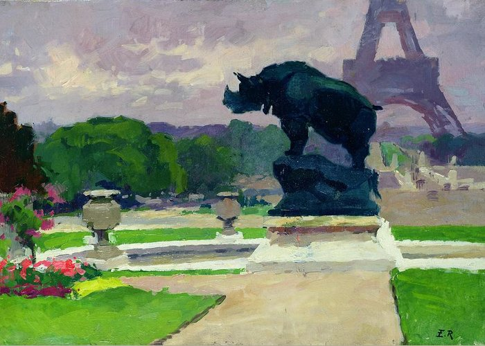 The Greeting Card featuring the painting The Trocadero Gardens And The Rhinoceros by Jules Ernest Renoux