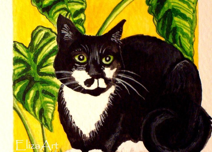 Watercolor Greeting Card featuring the painting The Tropical Cat by Elizabeth Robinette Tyndall