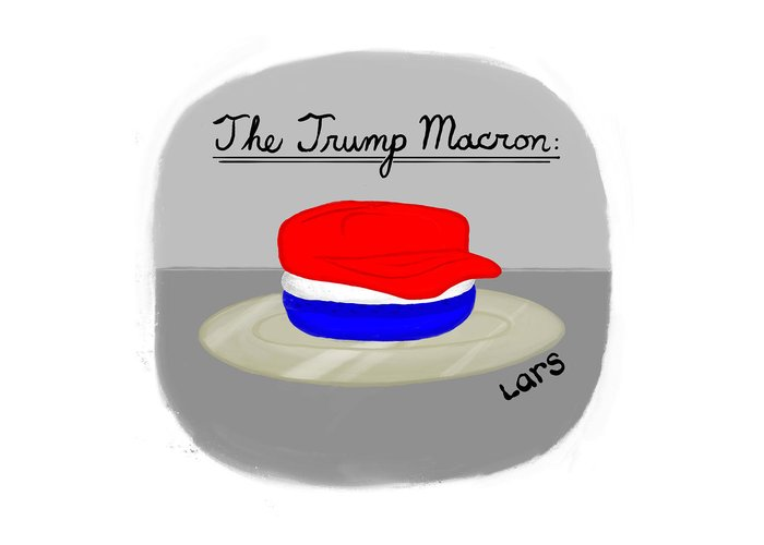 The Trump Macron Greeting Card featuring the painting The Trump Macron by Lars Kenseth