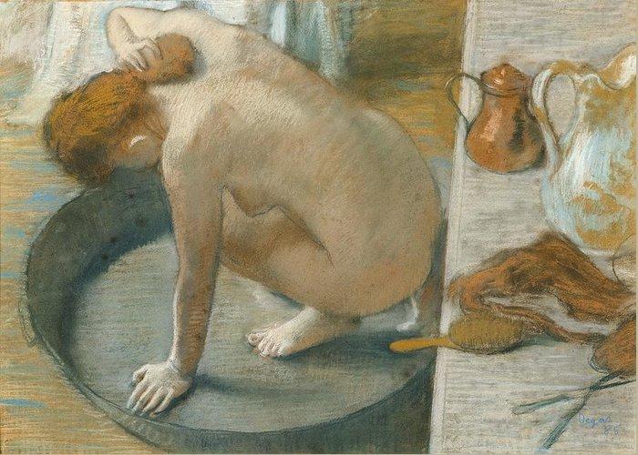Tub Greeting Card featuring the pastel The Tub by Edgar Degas