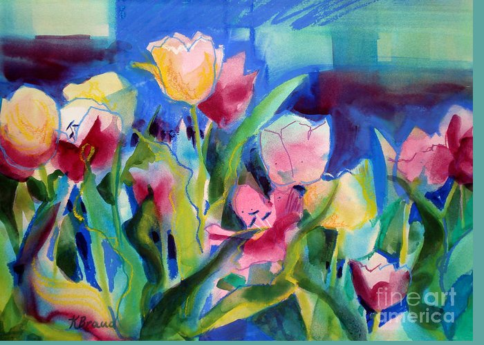 Paintings Greeting Card featuring the painting The Tulips Bed Rock by Kathy Braud
