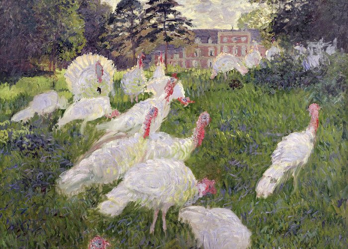 The Turkeys At The Chateau De Rottembourg Greeting Card featuring the painting The Turkeys At The Chateau De Rottembourg by Claude Monet