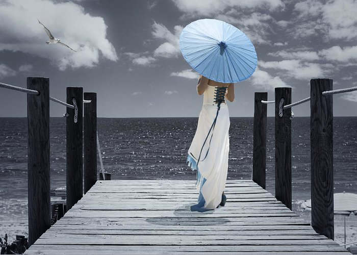 Woman Greeting Card featuring the photograph The Turquoise Parasol by Amanda Elwell