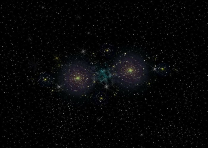 Space Art Greeting Card featuring the digital art The Twins by Thomas MacPherson Jr