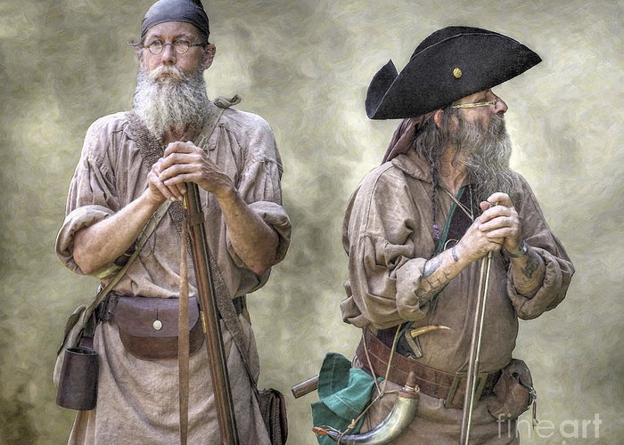 Muzzleloading Greeting Card featuring the digital art The Two Frontiersmen by Randy Steele