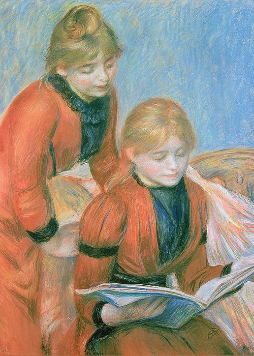 The Greeting Card featuring the pastel The Two Sisters by Pierre Auguste Renoir