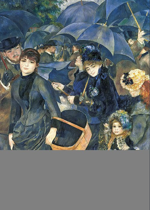 The Greeting Card featuring the painting The Umbrellas by Pierre Auguste Renoir
