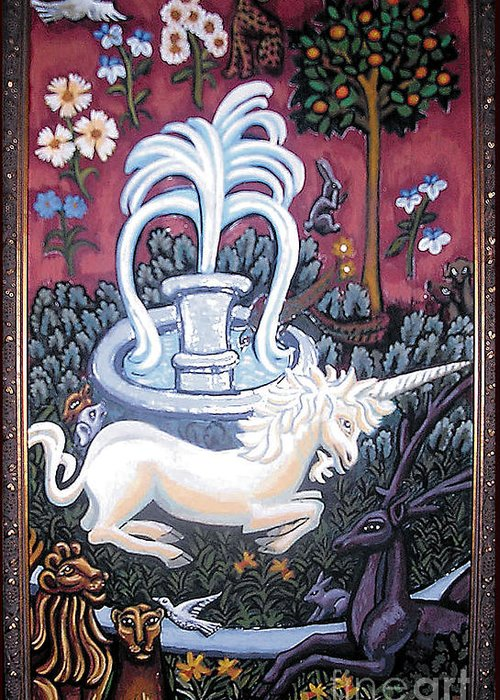 Unicorn Tapestries Greeting Card featuring the painting The Unicorn And Garden by Genevieve Esson