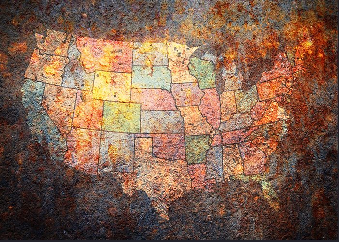 Usa Greeting Card featuring the digital art The United States by Michael Tompsett