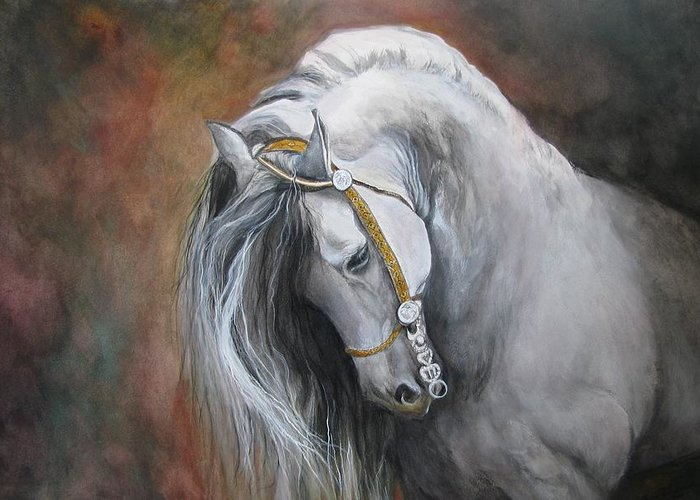 Andalusian Horse Greeting Card featuring the painting The Unreigned King by Nonie Wideman