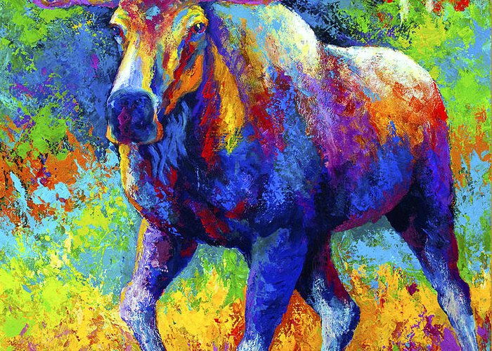 Moose Greeting Card featuring the painting The Urge To Merge - Bull Moose by Marion Rose