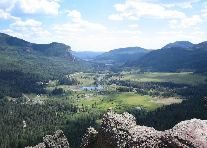 Rocky Mountains Greeting Card featuring the photograph The Valley Below by CGHepburn Scenic Photos