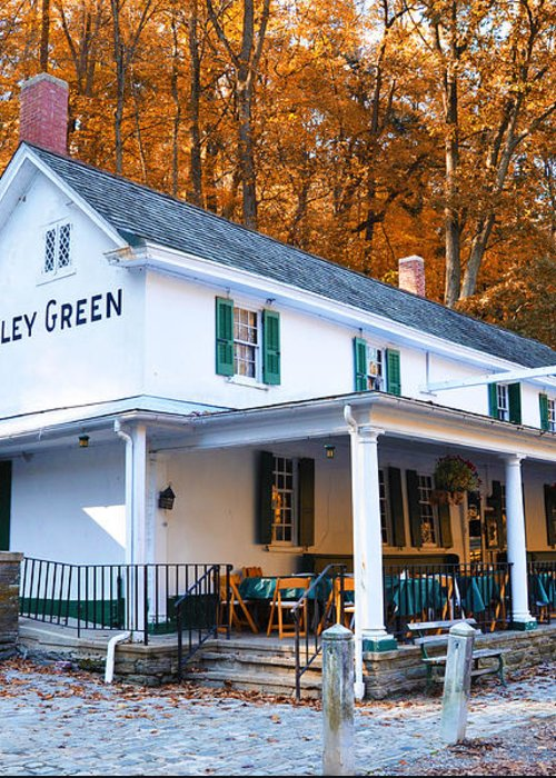 Valley Green Greeting Card featuring the photograph The Valley Green Inn In Autumn by Bill Cannon