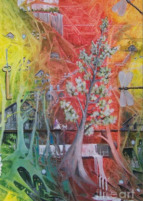 Tree Greeting Card featuring the painting The Valley Of The Cotton Tree by Jackie Mueller-Jones