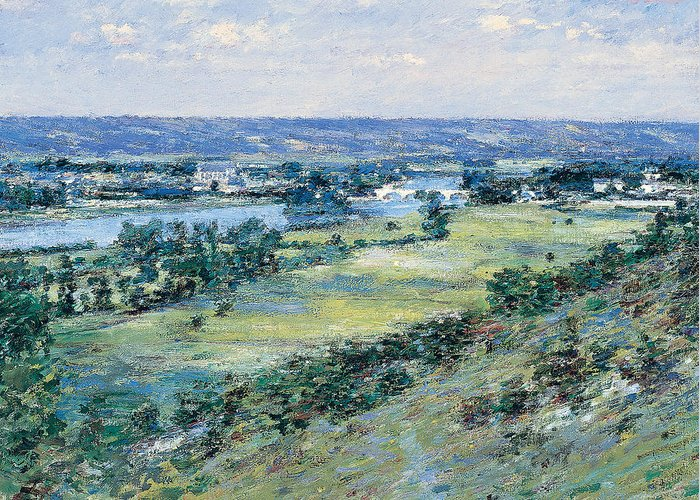Theodore Robinson Greeting Card featuring the painting The Valley Of The Seine From The Hills Of Giverny by Theodore Robinson