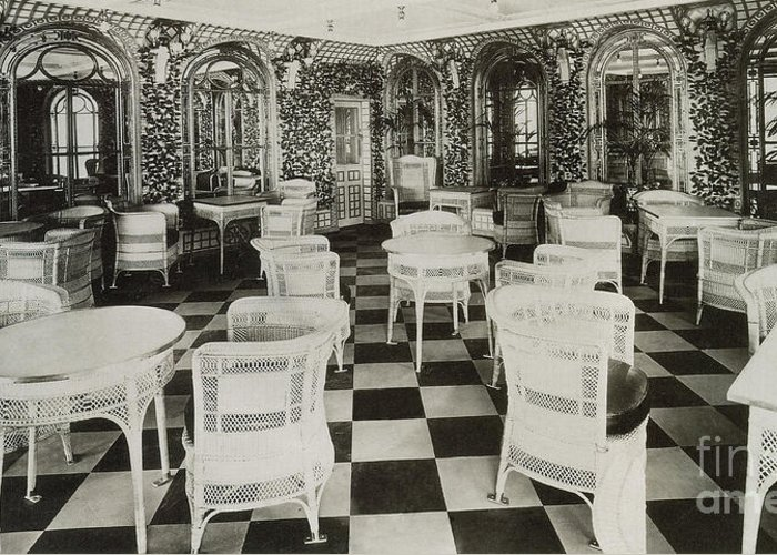 Titanic Greeting Card featuring the photograph The Verandah Cafe Of The Titanic by Photo Researchers