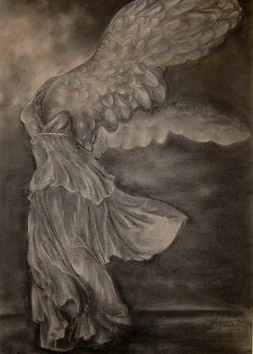 Nike Greeting Card featuring the drawing The Victory Of Samothrace by Julianna Ziegler