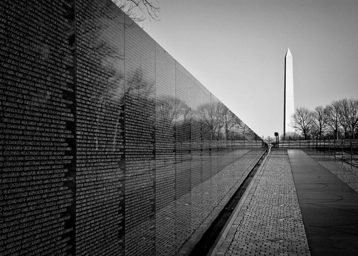 Washington Dc Greeting Card featuring the photograph The Vietnam Veterans Memorial Washington Dc by Ilker Goksen