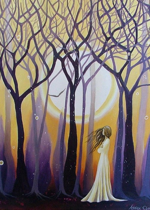 Acrylic Greeting Card featuring the painting The View by Amanda Clark