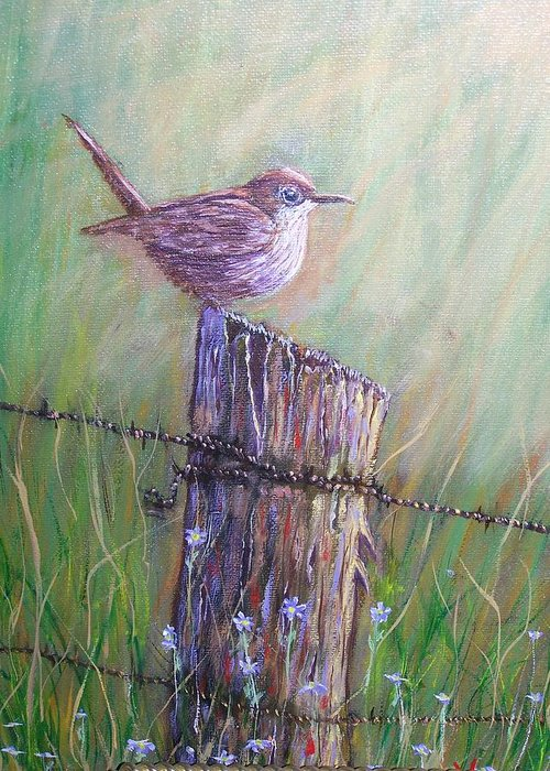Bird Greeting Card featuring the painting The View by Charles Vaughn