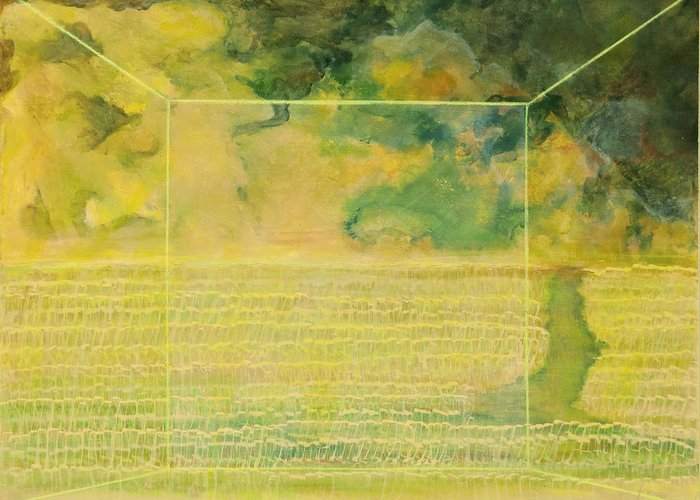 Acrylic View Window Nature Environment Landscape Grass Crops Corn Wheat Storm Sky Yellows  Greeting Card featuring the painting The View by Frances Bourne