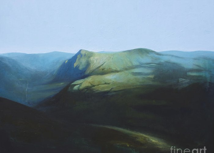 Lin Petershagen Greeting Card featuring the painting The View From Mount Tron by Lin Petershagen