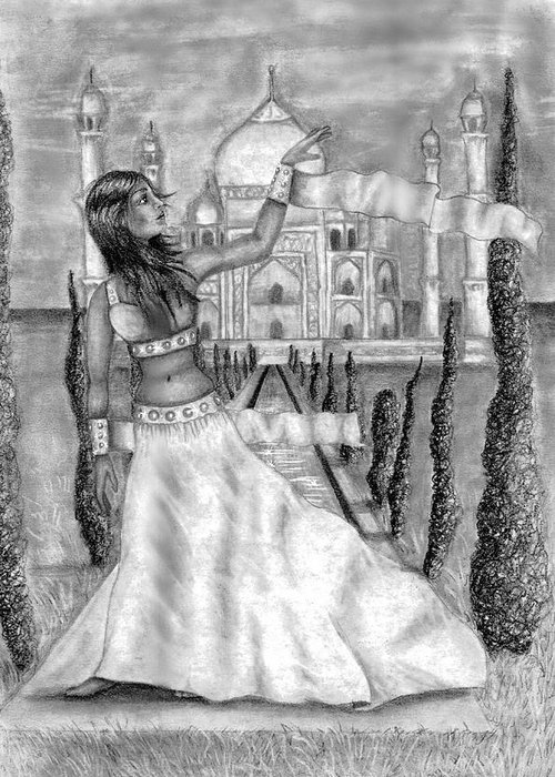 Taj Mahal Greeting Card featuring the drawing The View by Scarlett Royal