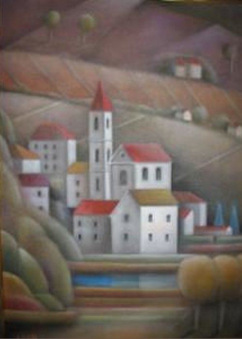 Greeting Card featuring the painting The Village by Alfredo DeCurtis