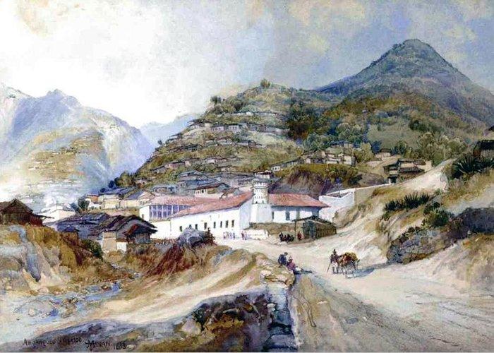 The Village Of Angangueo Greeting Card featuring the painting The Village Of Angangueo by Thomas Moran