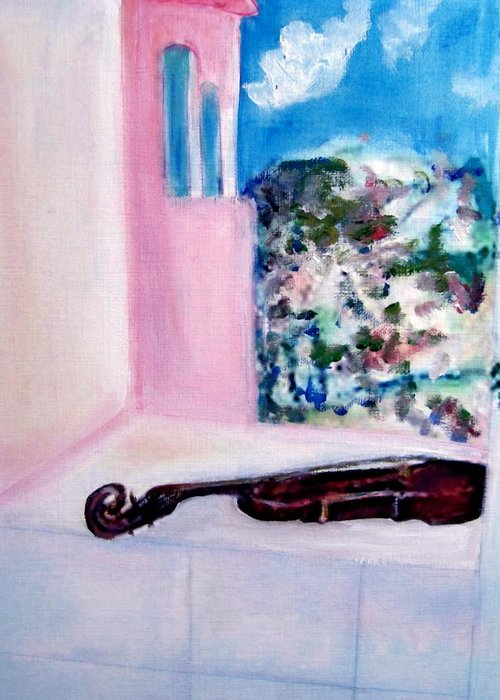 Violin Greeting Card featuring the painting The Violin by Michela Akers