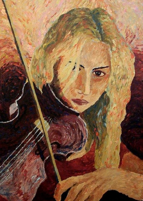 Portrait Greeting Card featuring the painting The Violinist by Mats Eriksson