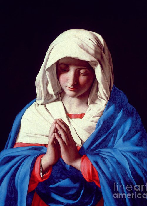 Mary Greeting Card featuring the painting The Virgin In Prayer by Il Sassoferrato