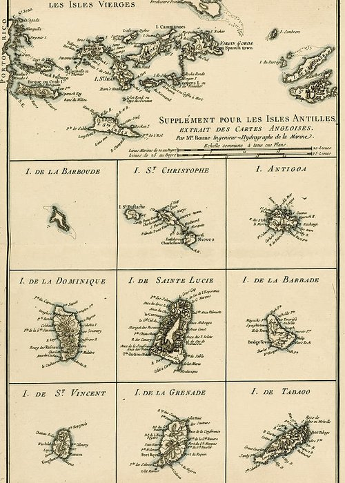 Engraving Greeting Card featuring the drawing The Virgin Islands by Guillaume Raynal