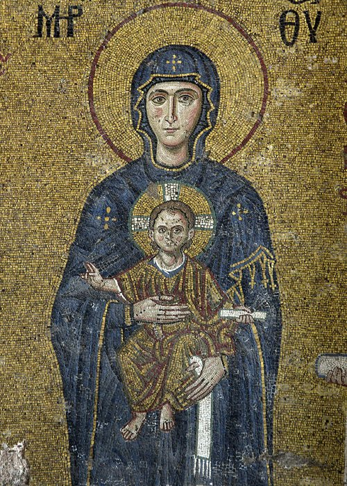 The Virgin Mary Greeting Card featuring the photograph The Virgin Mary Holds The Child Christ On Her Lap by Ayhan Altun