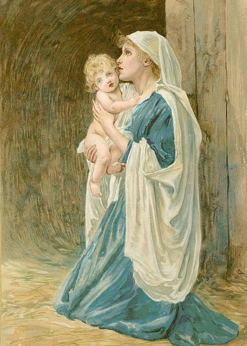Bible; Virgin Mary; Jesus Christ; Sentimental; Sentimentality Greeting Card featuring the painting The Virgin Mary With Jesus by John Lawson