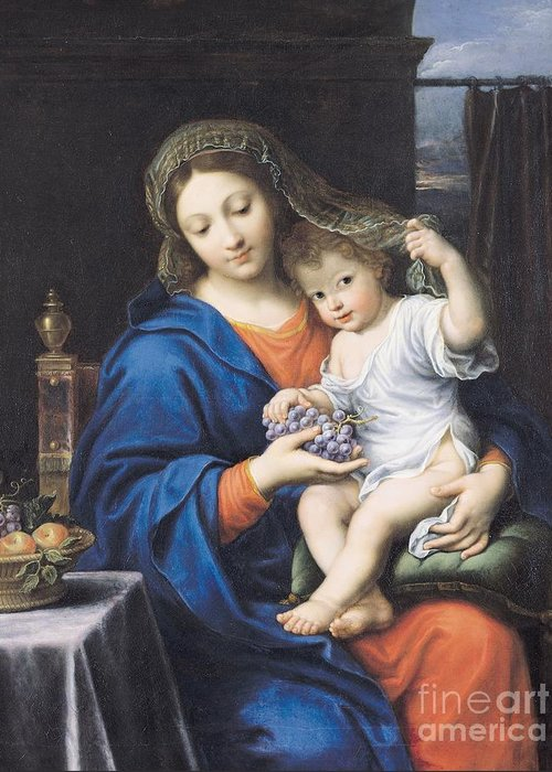 The Virgin Of The Grapes Greeting Card featuring the painting The Virgin Of The Grapes by Pierre Mignard