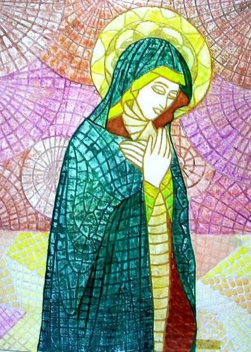 Greeting Card featuring the mixed media The Virgin by Victor Madero